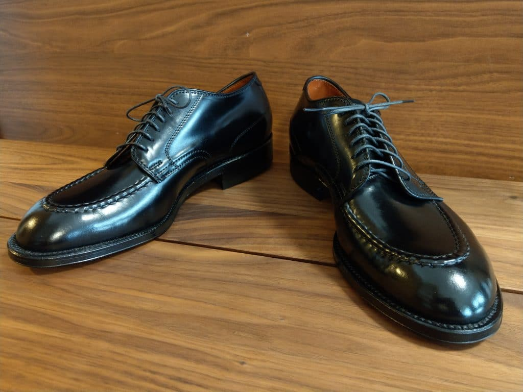 Alden black cordovan U-tip (Moc Toe) Modified last