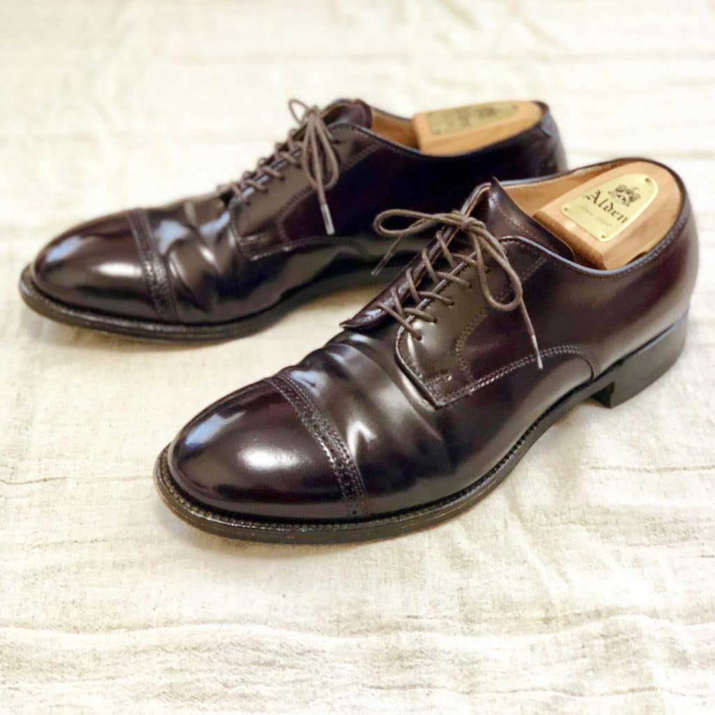 Alden color 8 cordovan Perforated Straight Tip (PCT) Modified last