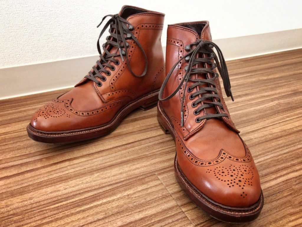 Alden tan calf Wing tip (SWB) boots Barrie last