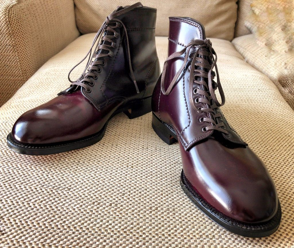 Alden color 8 cordovan Plain Toe boots Modified last