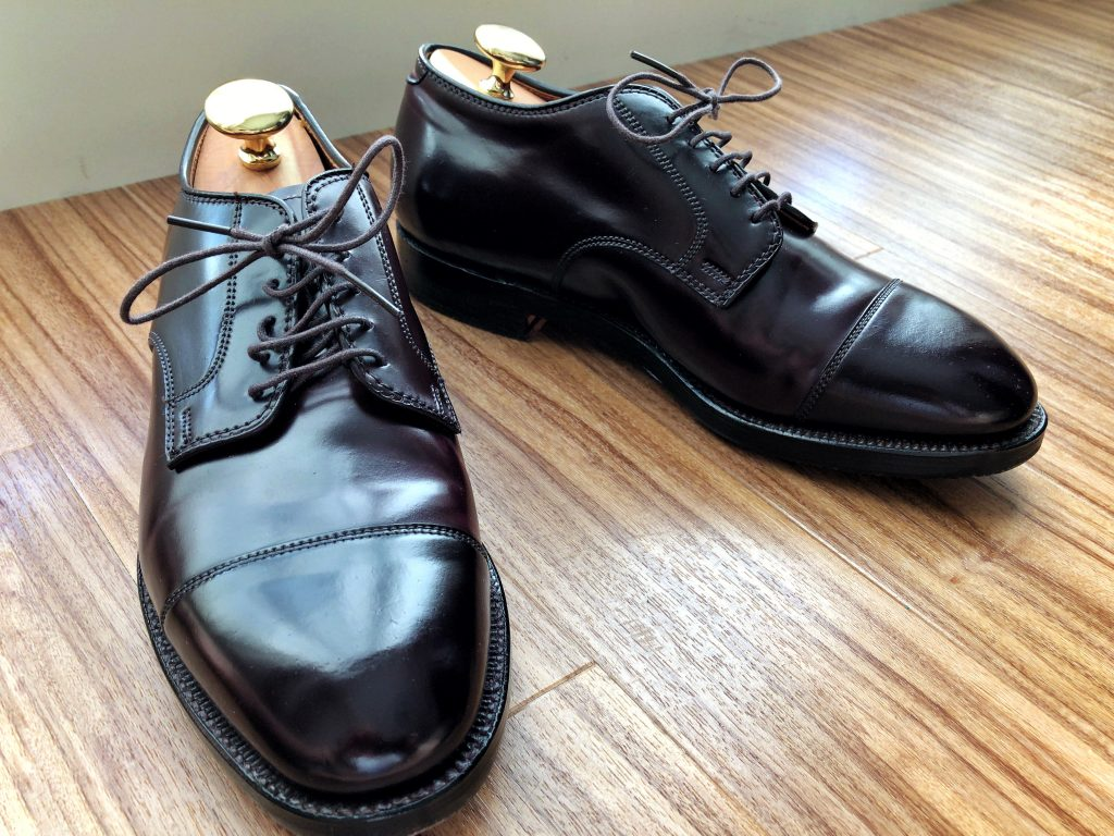 Alden X Brooks Brothers color 8 cordovan Straight Tip Blucher Barrie Last
