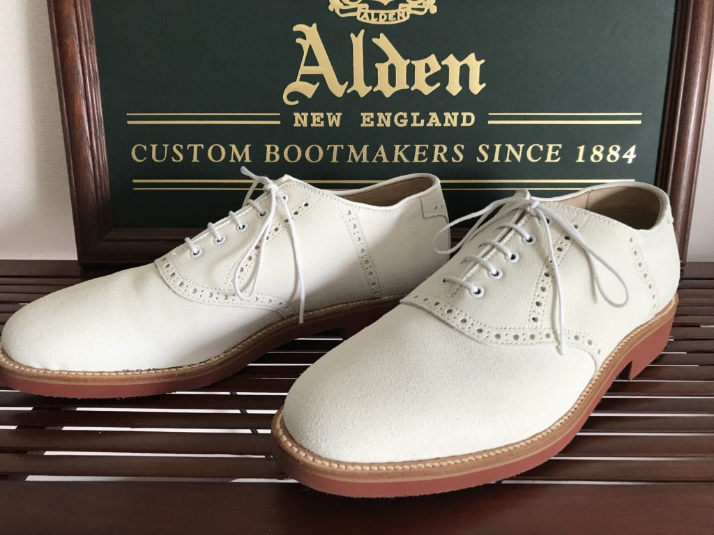 Alden White suede Plain Toe Brogued Saddle Barrie last
