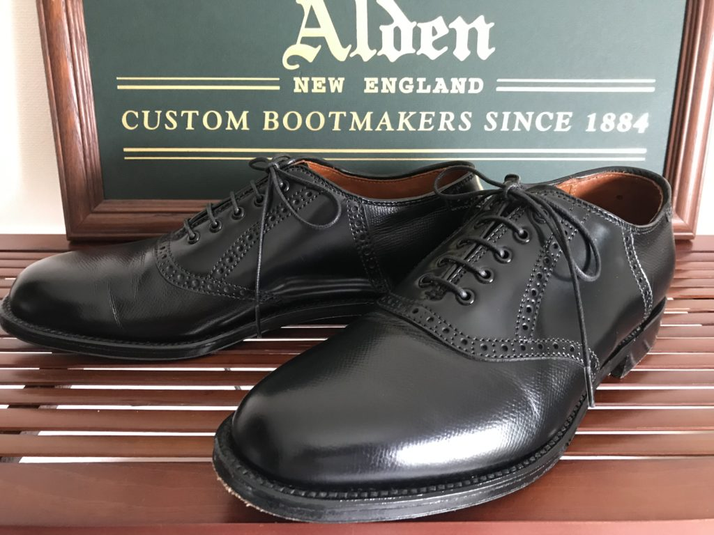 Alden Black Grain Calf x Cordovan Combi Plain Toe Brogued Saddle Barrie last