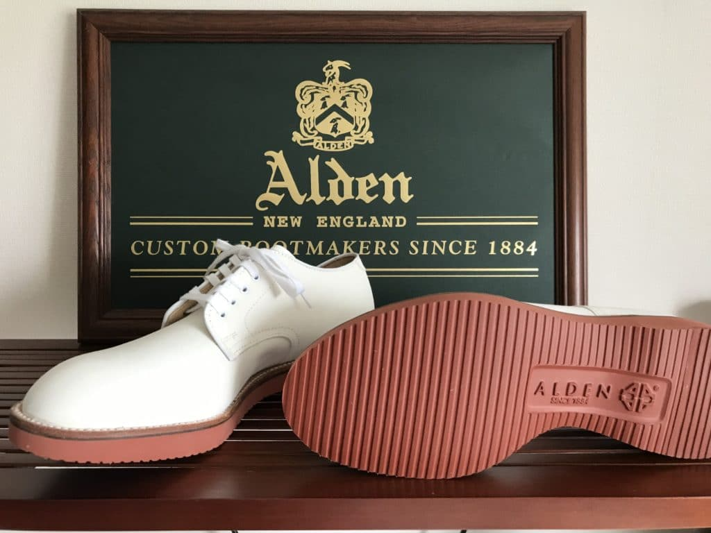 Alden White suede Plain Toe (White bucks) Modified last