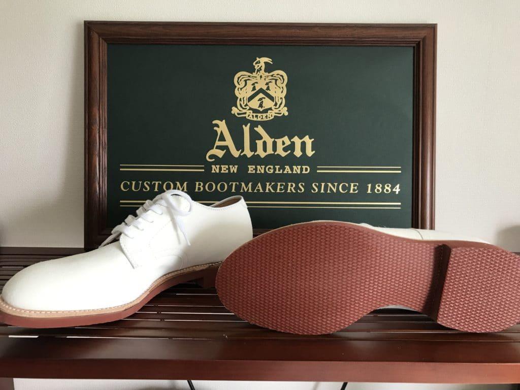 Alden White suede Plain Toe (White bucks) Modified last