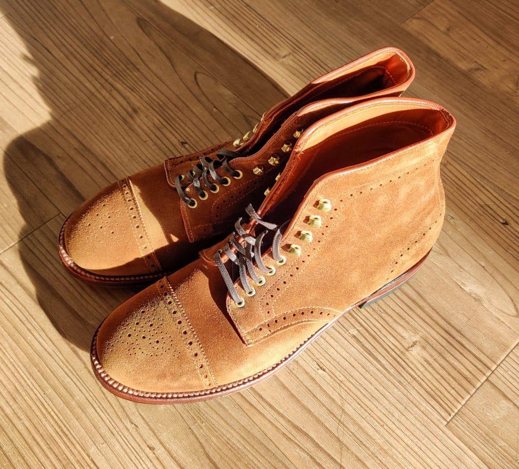 Alden snuff suede Medallion cap toe boots 379X last (Military last)