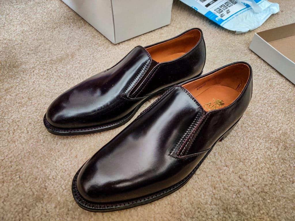Alden Color 8 cordovan Gore slip-on shoes Hampton last